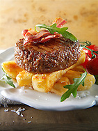 Char grilled beef burger  with chunky chips and salad photos. Funky Stock Photos