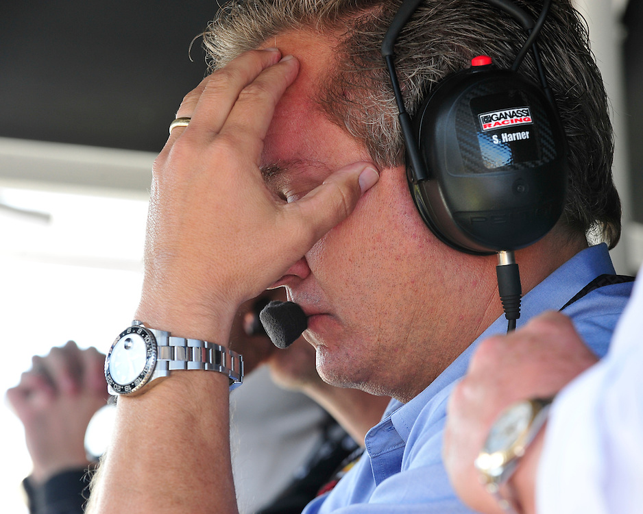 Chip Ganassi team members react to a crash in turn one that left Sage Karam and Justin Wilson injured on August 23rd, 2015, at Pocono Raceway in Long Pond. (Chris Post   lehighvalleylive.com)