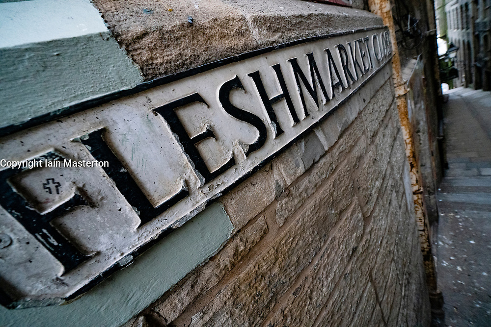 Detail of street sign for Fleshmarket Close in Edinburgh Old Town, Scotland, UK