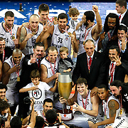 Besiktas's players celebrate winning the Presidential Cup Trophy during their 28. Men's Basketball Presidential Cup match Besiktas between Anadolu Efes at the Abdi ipekci Arena in Istanbul Turkey on Sunday 30 September 2012. Photo by TURKPIX