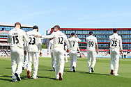 Lancashire take to the field they won the toss and elected to field during the Specsavers County Champ Div 2 match between Lancashire County Cricket Club and Northamptonshire County Cricket Club at the Emirates, Old Trafford, Manchester, United Kingdom on 14 May 2019.