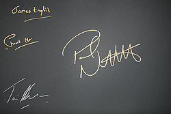 © Licensed to London News Pictures . 28/01/2017 . Stoke-on-Trent , UK . Paul Nuttall's signature (large, on the right) . UKIP formally launch their campaign in the by-election in the constituency of Stoke-on-Trent Central , at their new campaign shop at 1 Piccadilly in Stoke , with candidate - and party leader - Paul Nuttall . The seat was vacated when Tristram Hunt resigned . Photo credit : Joel Goodman/LNP