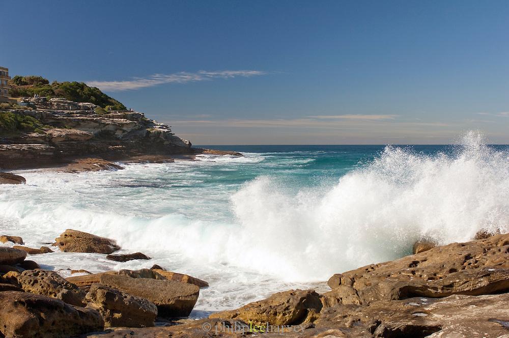 Waves crashing near Bronte Beach, Sydney, New South Wales, Australia