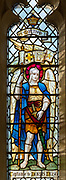 Stained glass window of Saint Michael at Waldringfield church, Suffolk, England, UK c 1917 by Powell