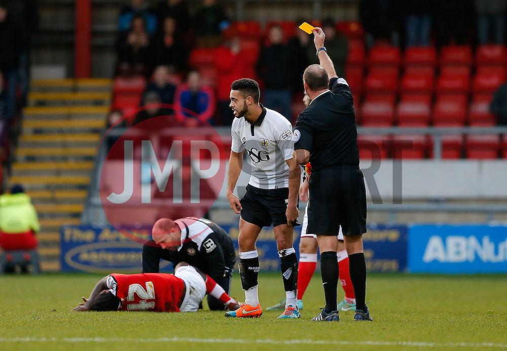 Derrick Williams of Bristol City is shown a yellow card by referee A. Haines for a challenge on Anthony Grant of Crewe Alexandra  - Photo mandatory by-line: Rogan Thomson/JMP - 07966 386802 - 20/12/2014 - SPORT - FOOTBALL - Crewe, England - Alexandra Stadium - Crewe Alexandra v Bristol City - Sky Bet League 1.