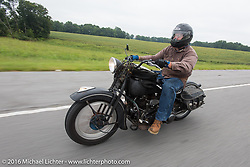 Motorcycle Cannonball organizer Lonnie Isam Jr riding his 1934 Harley-Davidson VL during Stage 4 of the Motorcycle Cannonball Cross-Country Endurance Run, which on this day ran from Chatanooga to Clarksville, TN., USA. Monday, September 8, 2014.  Photography ©2014 Michael Lichter.