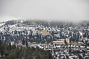 Snowscape in Ein Karem in the Jerusalem hills, Israel Russian Orthodox Church (Gorney Convent) in the background
