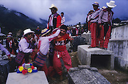 TODOS  SANTOS, Guatemala. Celebrations for the Day of the Dead in cemetery. Western Highlands, Huehuetenango, Todos Santos. Mayan traditional festival. Todos Santos Horse Race, the 'Skach Koyl' on All Saints Day 1st November; the 'Day of the dead' November 2nd. Mayan dances about Spanish 'Conquistadores' and Mayan Spirits, accompanied by marimbas take place October 31st.