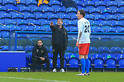 Mansfield Town manager Nigel Clough gestures during the The FA Cup match between Mansfield Town and Dagenham and Redbridge at the One Call Stadium, Mansfield, England on 29 November 2020.