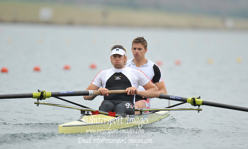 Eton, United Kingdom  GBR M2- Bow Peter REED and Andrew TRIGGS HODGE, at the start of their heat of the men's pair at the 2012 GB Rowing Senior Trials, Dorney Lake. Nr Windsor, Berks.  Saturday  10/03/2012  [Mandatory Credit; Peter Spurrier/Intersport-images]