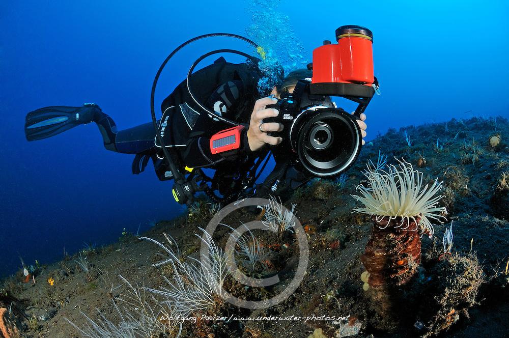 Taucherin fotografiert unter Wasser, Unterwasser-Fotografin, Scuba diver takes pictures under water, underwater-photographer, Bali, Indonesien, Indopazifik, Bali, Indonesia Asien, Indo-Pacific Ocean, Asia