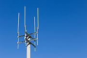 Omni directional rural cell base station antennas on a monopole tower for the mobile telephone system at Thangool, Queensland, Australia <br />