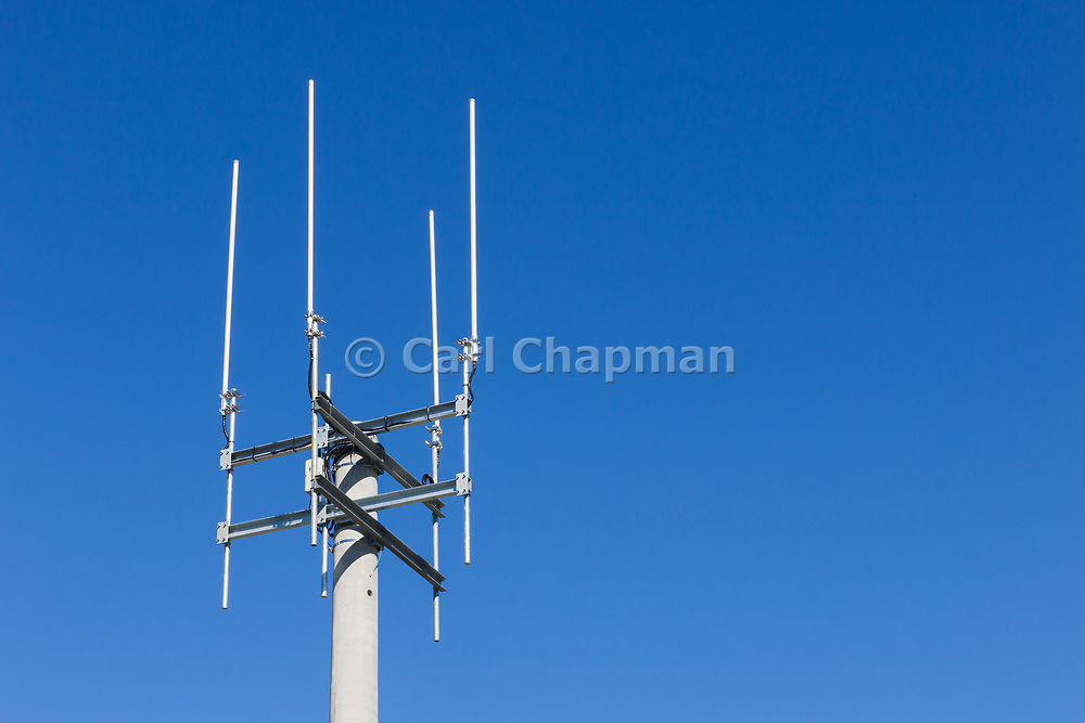 Omni directional rural cell base station antennas on a monopole tower for the mobile telephone system at Thangool, Queensland, Australia <br /> <br /> Editions:- Open Edition Print / Stock Image