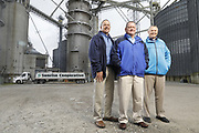 SHOT 10/29/18 9:44:56 AM - Sunrise Cooperative is a leading agricultural and energy cooperative based in Fremont, Ohio with members spanning from the Ohio River to Lake Erie. Sunrise is 100-percent farmer-owned and was formed through the merger of Trupointe Cooperative and Sunrise Cooperative on September 1, 2016. Photographed at the Clyde, Ohio grain elevator was George D. Secor President / CEO and John Lowry<br /> Chairman of the Board of Directors with  CoBank RM Gary Weidenborner. (Photo by Marc Piscotty © 2018)