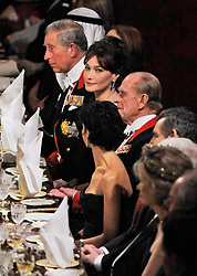 Buckingham Palace has announced Prince Philip, The Duke of Edinburgh, has passed away age 99 - FILE - Prince Charles of Wales, Carla Bruni-Sarkozy, the Duke of Edinburgh, French Justice Minister Rachida Dati and British Prime Minister Gordon Grown attend the state banquet at Windsor Castel, in Windsor, UK on March 26, 2008. Photo by Christophe Guibbaud/ABACAPRESS.COM