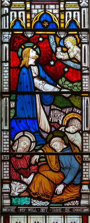 Victorian stained glass window, Tidworth south church, Wiltshire, England, UK by Clayton and Bell Agony in the Garden