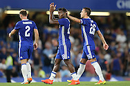 John Terry, the Chelsea captain congratulates Michy Batshuayi of Chelsea (c) after full time. EFL Cup 2nd round match, Chelsea v Bristol Rovers at Stamford Bridge in London on Tuesday 23rd August 2016.<br /> pic by John Patrick Fletcher, Andrew Orchard sports photography.