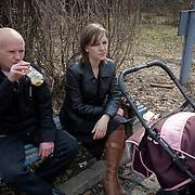 People push baby cart in the town of Rodniki, near Ivanovo.