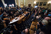 U.S. Ambassador to the European Union Gordon Sondland is surrounded by media members after taking his seat to testify at a House Intelligence Committee hearing as part of the impeachment inquiry into U.S. President Donald Trump on Capitol Hill in Washington, U.S., November 20, 2019.