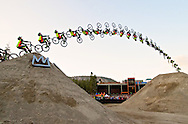 Cam Zink for the world record 100ft MTB Mammoth Flip backflip for World of X Games at Mammoth Mountain, CA. � Brett Wilhelm