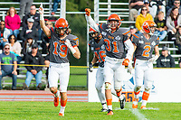 KELOWNA, BC - OCTOBER 6: Cole Stregger #19 of Okanagan Sun is congratulated on the interception against the VI Raiders at the Apple Bowl on October 6, 2019 in Kelowna, Canada. (Photo by Marissa Baecker/Shoot the Breeze)