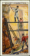 Rock Salt: Miners at work in salt mine Wieliczka, Galicia, Poland. Mine worked for 1,000 years. In 1916, 67 miles of galleries. Very pure deposit. Card published 1916. Chromolithograph