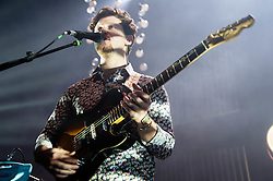 © Licensed to London News Pictures. 18/01/2013. London, UK.   Joe Newman of  Alt-J (?) performing live at O2 Shepherds Bush Empire. ? (pronounced Alt-J) is a British indie rock quartet, formed in 2007,comprising of Gwil Sainsbury (guitarist/bassist), Joe Newman (guitar/vocals), Gus Unger-Hamilton (keyboards) and Thom Green (drums).  Their debut album An Awesome Wave was released in May 2012 in Europe and September 2012 in the United States and won the 2012 British Mercury Prize.  ?'s name is pronounced ?Alt-J?, which is the keyboard shortcut used on Apple OS X to insert the Greek letter Delta.   Photo credit : Richard Isaac/LNP