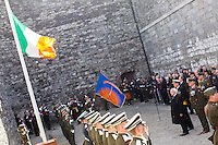 President Michael D Higgins who laid a wreath at Kilmainham Gaol, where 14 of the leaders of the Rising were executed.<br />Pic:Mark Condren<br />27.3.2016