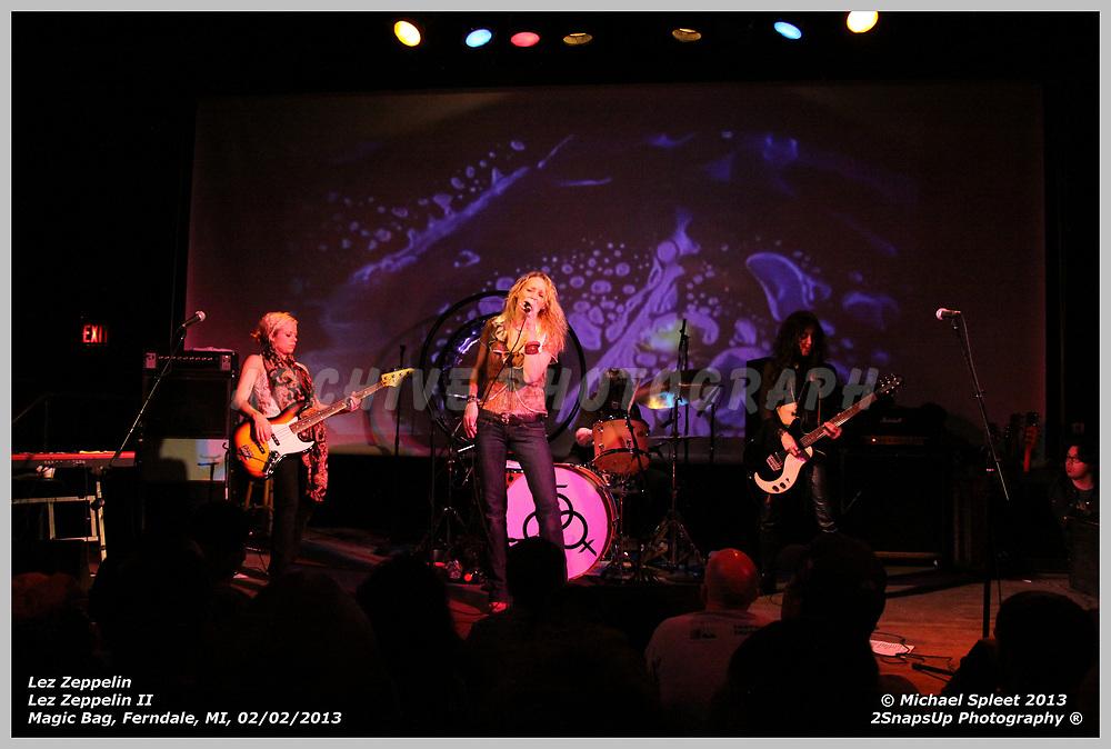 FERNDALE, MI, SUNDAY, FEB. 03, 2013: Lez Zeppelin, Led Zeppelin II  at Magic Bag, Ferndale, MI, 02/03/2013.  (Image Credit: Michael Spleet / 2SnapsUp Photography)