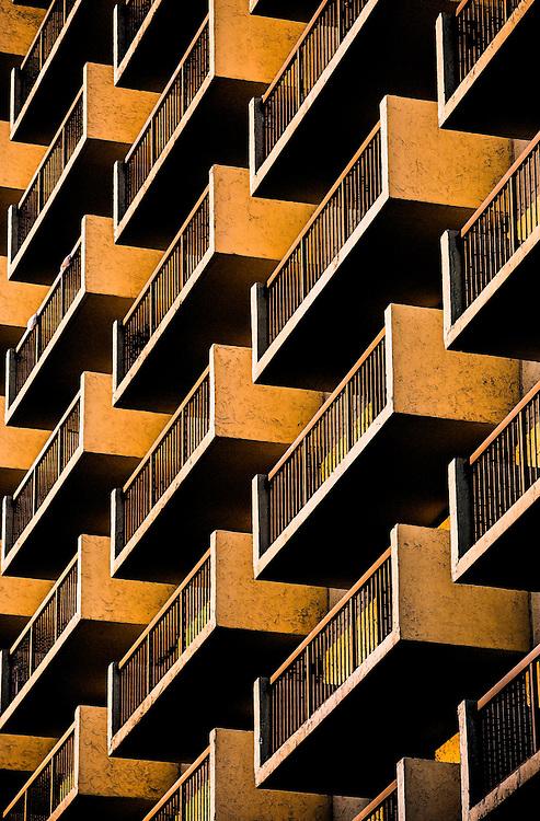 apartmant balconies in Miami at sunset