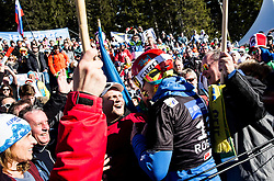 Zan Kosir (SLO) celebrates with his fans after he placed Third during Men's Parallel Giant Slalom at FIS Snowboard World Cup Rogla 2017, on January 28, 2017 at Course Jasa, Rogla, Slovenia. Photo by Vid Ponikvar / Sportida