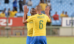 05/12/2018.  Hlompho Kekana of Mamelodi Sundowns FC celebrates his goal with Wayne Arendse  during the CAF Champions League with Leones Vegetarianos at Loftus Versfeld.<br /> Picture: Oupa Mokoena/African News Agency (ANA)