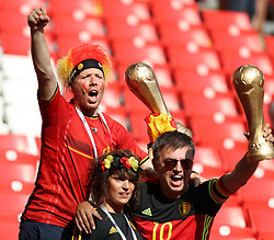 MOSCOW, June 23, 2018  Fans of Belgium celebrate victory after the 2018 FIFA World Cup Group G match between Belgium and Tunisia in Moscow, Russia, June 23, 2018. Belgium won 5-2. (Credit Image: © Yang Lei/Xinhua via ZUMA Wire)