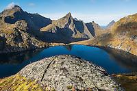 Hermannsdalstinden mountain peak (left) in Autumn, Moskenesøya, Lofoten Islands, Norway