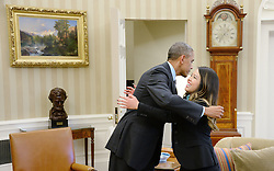 United States President Barack Obama gives a hug to Nina Pham of Dallas, Texas, the first nurse in the United States diagnosed with Ebola, in the Oval Office of the White House October 24, 2014 in Washington, DC. Earlier in the day, Pham was declared 'free of Ebola' at a press conference at the National Institutes of Health. EXPA Pictures © 2014, PhotoCredit: EXPA/ Photoshot/ Olivier Douliery<br /> <br /> *****ATTENTION - for AUT, SLO, CRO, SRB, BIH, MAZ only*****