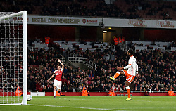 Blackpool's Nathan Delfouneso puts the ball in the net only to be ruled out for offside during the Carabao Cup, Fourth Round match at the Emirates Stadium, London.