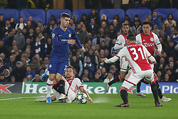November 5, 2019: AMSTERDAM, NETHERLANDS - OCTOBER 22, 2019: Christian Pulisic (Chelsea FC) and Joel Veltman (Ajax) pictured during the 2019/20 UEFA Champions League Group H game between Chelsea FC (England) and AFC Ajax (Netherlands) at Stamford Bridge. (Credit Image: © Federico Guerra Maranesi/ZUMA Wire)