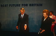 British Prime Minister, John Major is joined on stage by his wife Norma and political predecessor, Margaret Thatcher during a Conservative party election rally on 23rd March 1992, in Brighton, England. Major went on to win the election weeks later and was the fourth consecutive victory for the Conservative Party although it was its last outright win until 2015 after Labours 1997 win for Tony Blair.