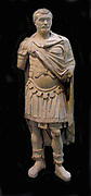 Marble statue of the Emperor Septimus Severs, shown in military uniform was a very skilled general.  Roman, from Alexandria, Egypt.