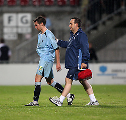 Carl Finnigan leaves the field after a red card.<br /> Vaduz 2 v 0 Falkirk FC at the Rheinpark Stadium for their Europa League second-round qualifier against Vaduz in Liechtenstein.<br /> ©2009 Michael Schofield. All Rights Reserved.
