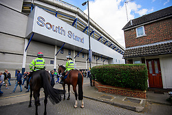 © Licensed to London News Pictures. 14/05/2017. London, UK. Police on horseback outside White Heart Lane, in North London where Tottenham Hotspur F.C. are playing their final game at the ground, against Manchester united today (Sun). Known as 'The Lane', Tottenham have been playing at the ground for 118 years, but will be playing at Wembley next season while a new 60,000 seat stadium is built for the start of the 2018/19 season.  Photo credit: Ben Cawthra/LNP