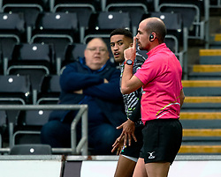 Referee Alexandre Ruiz silences the players after Keelan Giles of Ospreys scores<br /> <br /> Photographer Simon King/Replay Images<br /> <br /> European Rugby Challenge Cup Round 5 - Ospreys v Worcester Warriors - Saturday 12th January 2019 - Liberty Stadium - Swansea<br /> <br /> World Copyright © Replay Images . All rights reserved. info@replayimages.co.uk - http://replayimages.co.uk