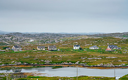 View of village of Ardvey on The Bays on East coast of Isle of Harris, Outer Hebrides, Scotland, UK