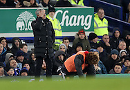 Jose Mourinho  and Marouane Fellaini of Manchester United during the Premier League match at Goodison Park, Liverpool. Picture date: December 4th, 2016.Photo credit should read: Lynne Cameron/Sportimage