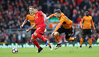 Football - 2016 / 2017 FA Cup - Fourth Round: Liverpool vs. Wolverhampton Wanderers<br /> <br /> Lee Evans of Wolverhampton Wanderers and Roberto Firmino of Liverpool during the match at Anfield.<br /> <br /> COLORSPORT/LYNNE CAMERON