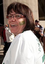 Mother of Aleksander Radosavljevic of Slovenia enjoys the atmosphere ahead of the 2010 FIFA World Cup South Africa Group C match between Slovenia and USA at Ellis Park Stadium on June 18, 2010 in Johannesberg, South Africa. (Photo by Vid Ponikvar / Sportida)