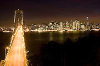 Golden Gate Bridge and San Francisco at night.