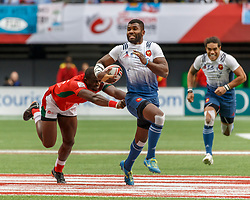 March 10, 2018 - Vancouver, British Columbia, U.S. - VANCOUVER, BC - MARCH 10: Jeremy Aicardi (#13) of France eludes a tackler during Game # 3- Kenya vs France Pool C match at the Canada Sevens held March 10-11, 2018 in BC Place Stadium in Vancouver, BC. (Photo by Allan Hamilton/Icon Sportswire) (Credit Image: © Allan Hamilton/Icon SMI via ZUMA Press)