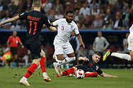 Ashley Young of England is tackled by Ivan Strinic of Croatia during the 2018 FIFA World Cup Russia, semi-final football match between Croatia and England on July 11, 2018 at Luzhniki Stadium in Moscow, Russia - Photo Thiago Bernardes / FramePhoto / ProSportsImages / DPPI
