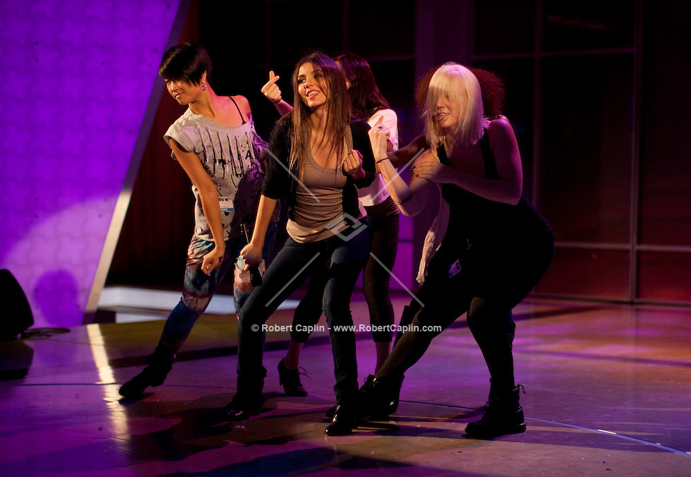 Actress and singer Victoria Justice rehearses at the studios of The View in New York prior to performing on the show during Fall Fashion week 2011. ..Photo by Robert Caplin.